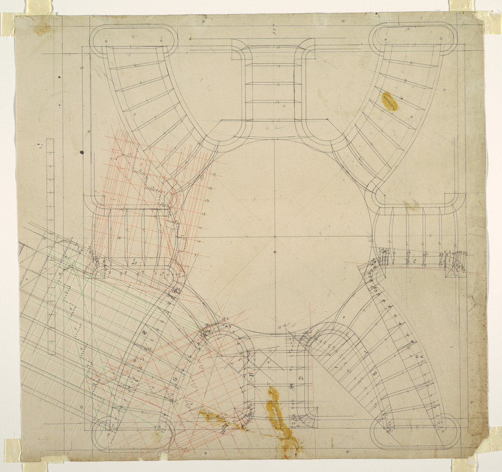 Drawing, Plan View of a Double Spiral Staircase with Central Landing, ca. 1884