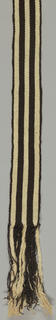 Belt in brown and white stripes. One half of belt elaborately embroidered on dark brown ground with floral patterns in red, green, yellow and white.