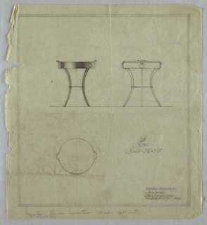 Vertical rectangle, ruled borders in graphite, irregular left edge. Two elevations and one plan view of a design for a metal circular table with four curving legs, joined together by a metal ring with spiraling decoration at half-height. Removable tray tabletop has curving pointed handles at left and right sides plaques decorating the edge. Graphite inscriptions below.