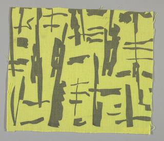 "Yellow plain weave printed in a dark grey ""brushstroke"" pattern."