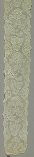 Pair of bobbin lace lappets joined, floral vine; mid-18th century Valenciennes Fond
