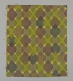 Dark yellow plain weave printed with a pattern of overlapping diamonds in brown-black, red-brown, brown, grey and green.