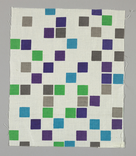White plain weave printed with squares of green, turquoise, violet, light grey and dark grey.