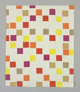 White plain weave printed with squares of crimson, orange, yellow, violet, tan and light brown.