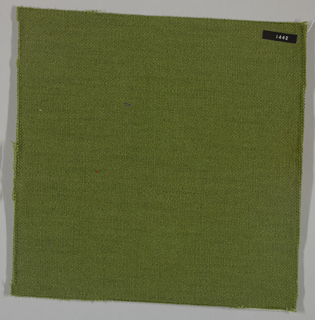Plain weave with yellow-green warp and weft. Heavy nylon yarns give a coarse surface texture.