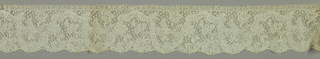 Bobbin lace border, floral vine; early 18th century Binche