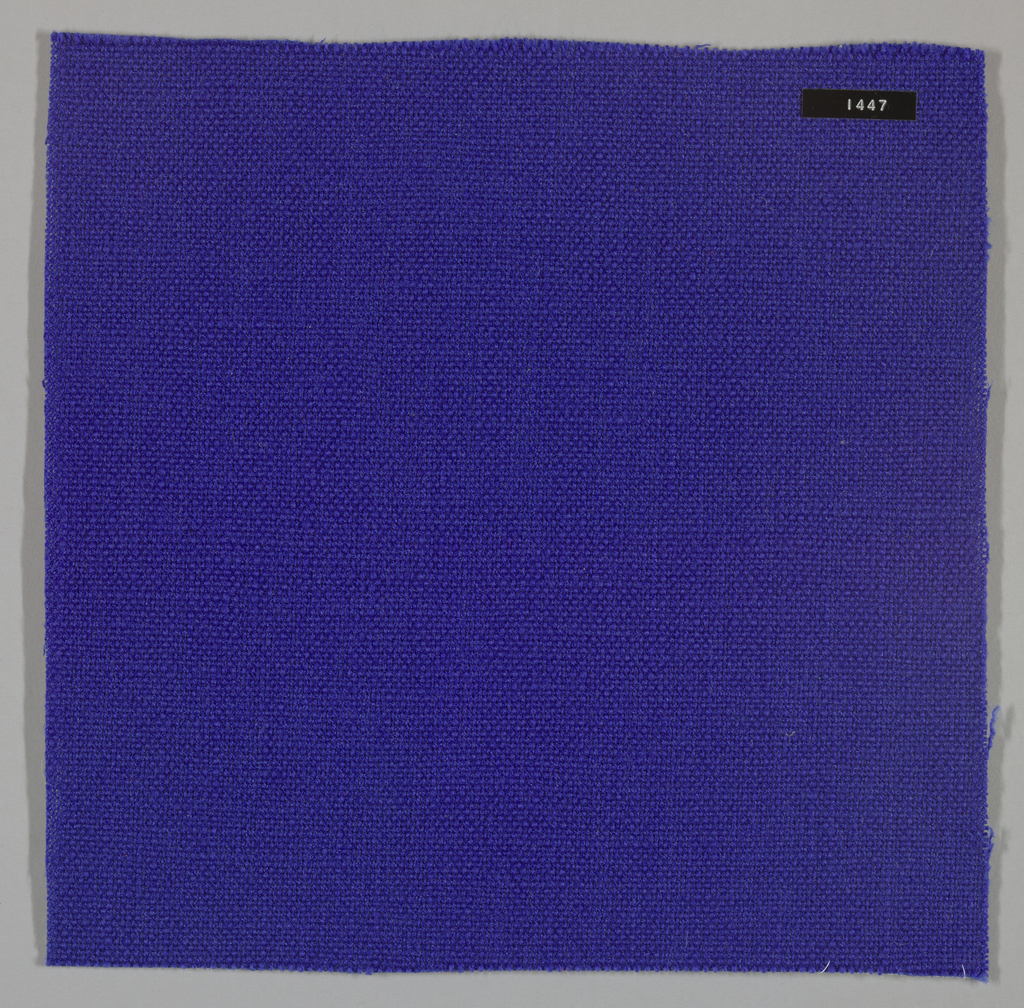 Plain weave with blue warp and weft. Heavy nylon yarns give a coarse surface texture.