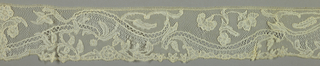 Bobbin lace edge, curves with plants; early 18th century Brabant