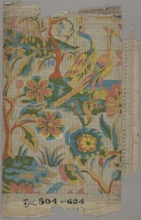 Stylized floral design with birds; two crested birds, upper right.