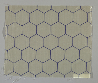 Sheer white plain weave printed with an outline pattern of blue hexagons.