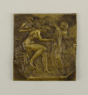 Vertical rectangle. Repoussé figure of a nude woman with female attendants.