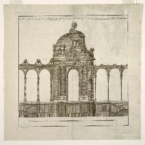 Elevation of a domed garden pavilion with an arcaded gallery on either side.  The elevation is split in half and each section shows an alternative design.  The greatest difference is presented in the cupola.  Inscription across the top margin.  Indication of the scale at the lower margin.  Small inscriptions throughout.