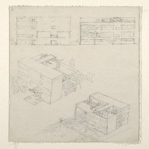 Four drawings for Villa Stein-de Monzie, at Garches, France: facade elevation view at upper left, rear elevation view at upper right, facade aerial perspective at center, left, rear aerial perspective at lower right.