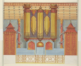 Elevation of north wall, showing the large organ flanked by columns entwined by serpents. Doors with pagoda-shaped lintels are on the extreme ends of the wall. A section of the carved bamboo cove ceiling is shown above.  Original album associated with this collection still exists.  See 1948-40-1 accessory