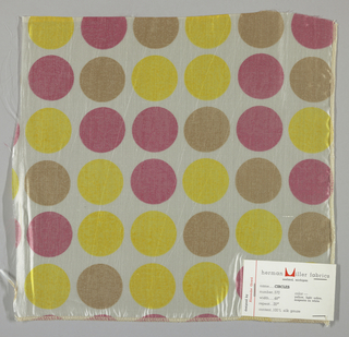 Sheer white plain weave printed with circles in yellow, magenta and light brown. Number 570.