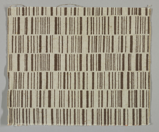 Light brown plain weave printed with rows of vertical lines in dark brown.