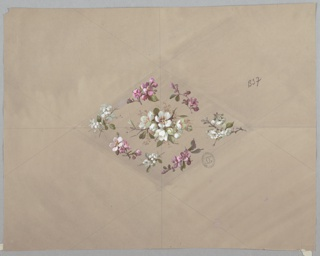 Horizontally-oriented diamond shape made up of flowers. Alternating pink and white flowers outline the diamond, white flowers at the center. Guidelines in graphite are visible with the diamond bisected horizontally and vertically.