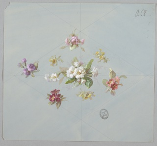 Horizontally-oriented diamond shape made of eight clusters of flowers and foliage at center of page. Four clusters near corners of diamond with colored flowers. Clockwise from top: pink, orange, red, and purple. White flower cluster in center with three yellow flower clusters around it in an upside-down triangle formation. Guidelines in graphite are visible on the page with the diamond bisected horizontally and vertically.
