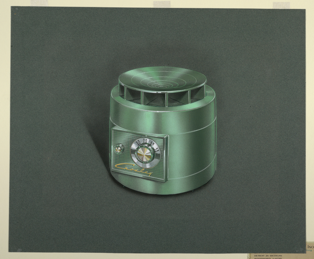 Cylindrical green radio featuring speaker baffle at top of cabinet and tuning and volume knobs on side panel.  A Crosley script in yellow found below control knobs.