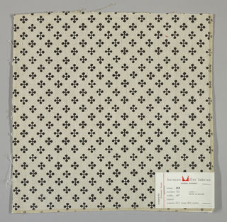 """Off-white plain weave printed with a pattern of intersecting """"barbells"""" in black. Number 753."""