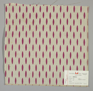 Off-white plain weave printed with magenta ovals. Number 720.