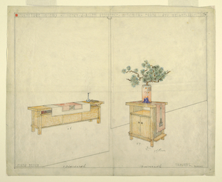 Furniture pieces shown in perspective at right and left. At left, is piano bench draped with cloth next to vase and books.  At right, taboret, also adorned with cloth runner and potted bonsai tree.