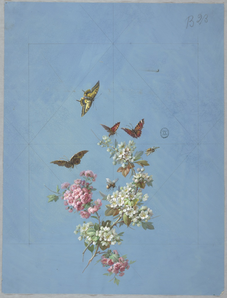 At lower center of page clusters of pink and white flowers on branches with foliage, with four butterflies and two bees flying above them on blue ground. Diamond-shaped guide lines in graphite are visible, and are bisected horizontally and vertically.