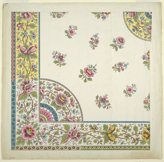 One quarter of design showing corner border with alternate suggestions and field of scattered flowers.