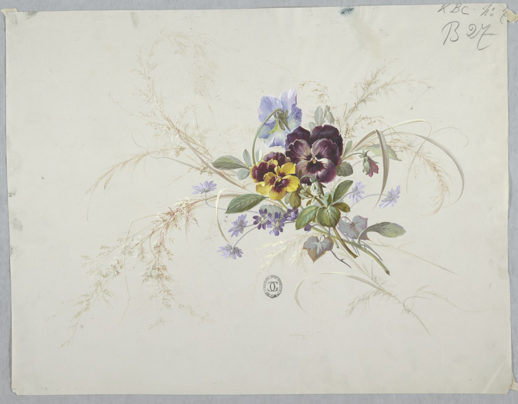 Drawing, Designs for Wallpaper and Textiles: Flowers