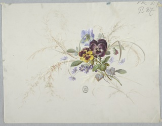 Cluster of flowers: purple and yellow pansies and smaller blue flowers with stems and foliage, with stems of grasses surrounding. Organized diagonally, top facing left.