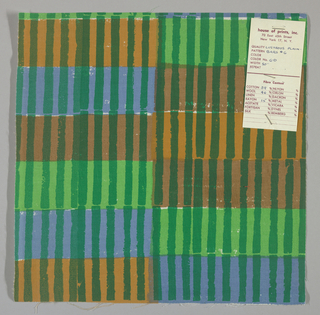 White plain weave hand printed with horizontal bands of blue, light green, tan and light brown intersected by vertical green bars. Color no. 6d