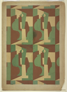 "Design for textile after rug design for the Newark Museum's 1929 exhibition ""Modern American Design in Metal."" All-over repeating pattern of cubist forms—possibly vessels?—in green and brown with negative space set in rectangles."