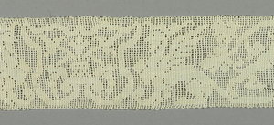 Buratto lace worked with a design showing a hunter attacked by a boar, a crowned griffin, and a shield form containing an urn, all combined with foliate scrolls.