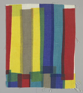 White plain weave printed with overlapping vertical bands in red, turquoise, blue, green, yellow and grey. No number.