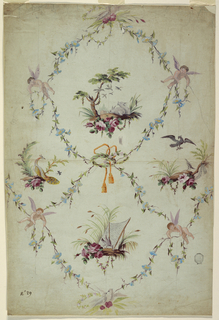 Rising flower twigs form irregular ovoids and lozenges by being fastened together by branches upon which pairs of doves stand, by a laurel wreath with a card, and by flying putti, respectively.  A landscape with two rabbits is shown in the ovoid, a landscape with a pheasant and a net in the great lozenge. In the smaller ones are birds and landscape motifs.