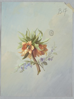 Brown branch at center of page with orange flowers all around, topped by green foliage. Branch of light blue, smaller flowers placed in front of brown branch.