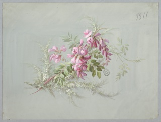 Branch of pink blossoms and leaves oriented diagonally, top to the right. On light gray ground.