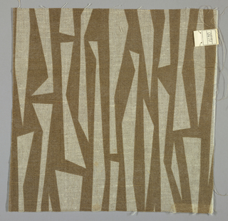 Sheer light brown plain weave printed with a sharp geometric pattern in brown. Number 1630.