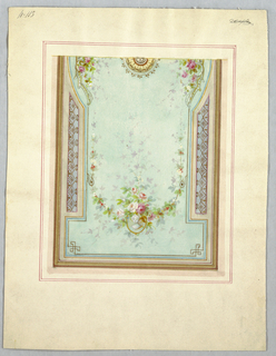 Drawing, Design for oblong panel of a ceiling