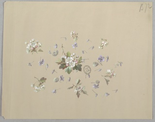 Cluster of white flowers and foliage at center of page surrounded by single flowers in a light purple gray shade. Surrounding this, six smaller clusters of white flowers and foliage, forming a horizontal oval shape.