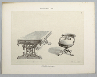 Print, Monthly Cabinet Makers Album: Library Furniture (Table and Chairs), 1859