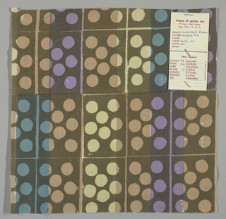 White plain weave hand printed in a pattern of rectangles and circles in violet, light blue, light brown, beige and dark brown. Color no. 2h