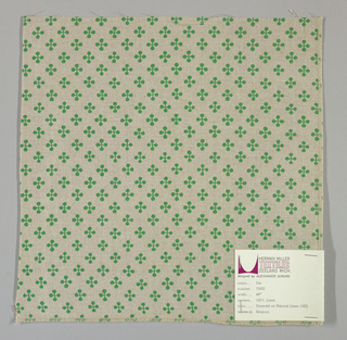 """Light brown plain weave printed with a pattern of intersecting """"barbells"""" in green. Number 75002."""