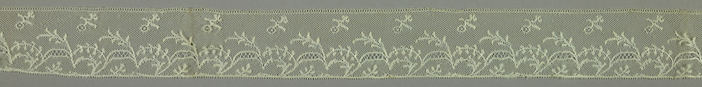 Bobbin lace border, floral scroll; early 19th century Maline