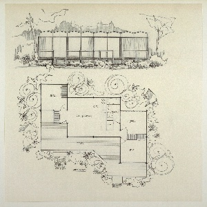 """Design for prefabricated house. Above, front elevation shows structure in landscape, with trees, shrubbery, and hills/mountains behind. Angular, undulating roofline positioned above eight modules, most of which are large plate-glass windows with curtains. Deck at front with open railing and steps on either side leading to lawn. Below, house shown in plan which features: bedroom, living/dining room and kitchen, bathroom, two additional bedrooms, and deck. Inscribed with room designations as well as """"625 sq. ft."""" In plan, flagstone paths also visible."""