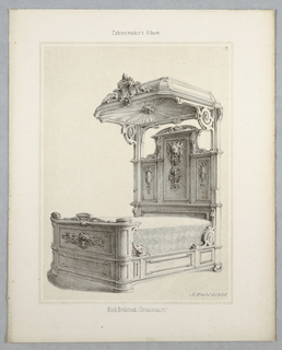 """Print, Monthly Cabinet Makers Album: """"Rich Bedstead"""", 1859"""