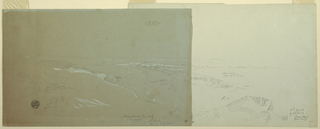 Horizontal view with a rock in the foreground, a group of houses in the left middle ground and a railway line in the background.  Broad margin at left.