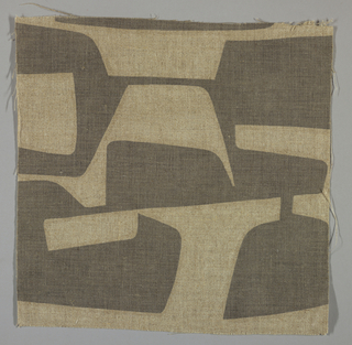 Light brown plain weave printed with a grey abstract design.
