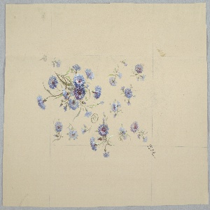 Cluster of blue flowers at bottom left, diagonal facing upward right. Same blue flowers appear oriented various ways, appear to be falling. All flowers have stems and foliage.