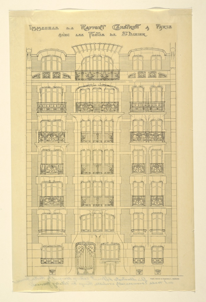 Principal facade if a seven story apartment house with triple fenestration in the central panel and double in the two flanking panels.